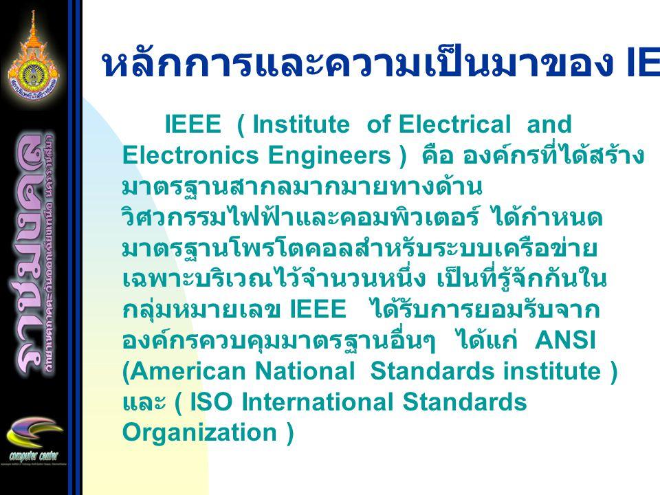 หลักการและความเป็นมาของ IEEE 802.X IEEE ( Institute of Electrical and Electronics Engineers ) คือ องค์กรที่ได้สร้าง มาตรฐานสากลมากมายทางด้าน วิศวกรรมไฟฟ้าและคอมพิวเตอร์ ได้กำหนด มาตรฐานโพรโตคอลสำหรับระบบเครือข่าย เฉพาะบริเวณไว้จำนวนหนึ่ง เป็นที่รู้จักกันใน กลุ่มหมายเลข IEEE ได้รับการยอมรับจาก องค์กรควบคุมมาตรฐานอื่นๆ ได้แก่ ANSI (American National Standards institute ) และ ( ISO International Standards Organization )