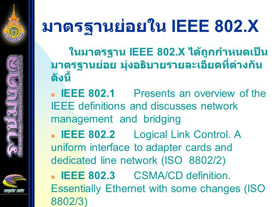 มาตรฐานย่อยใน IEEE 802.X ในมาตรฐาน IEEE 802.X ได้ถูกกำหนดเป็น มาตรฐานย่อย มุ่งอธิบายรายละเอียดที่ต่างกัน ดังนี้ IEEE 802.1Presents an overview of the IEEE definitions and discusses network management and bridging IEEE 802.2Logical Link Control.
