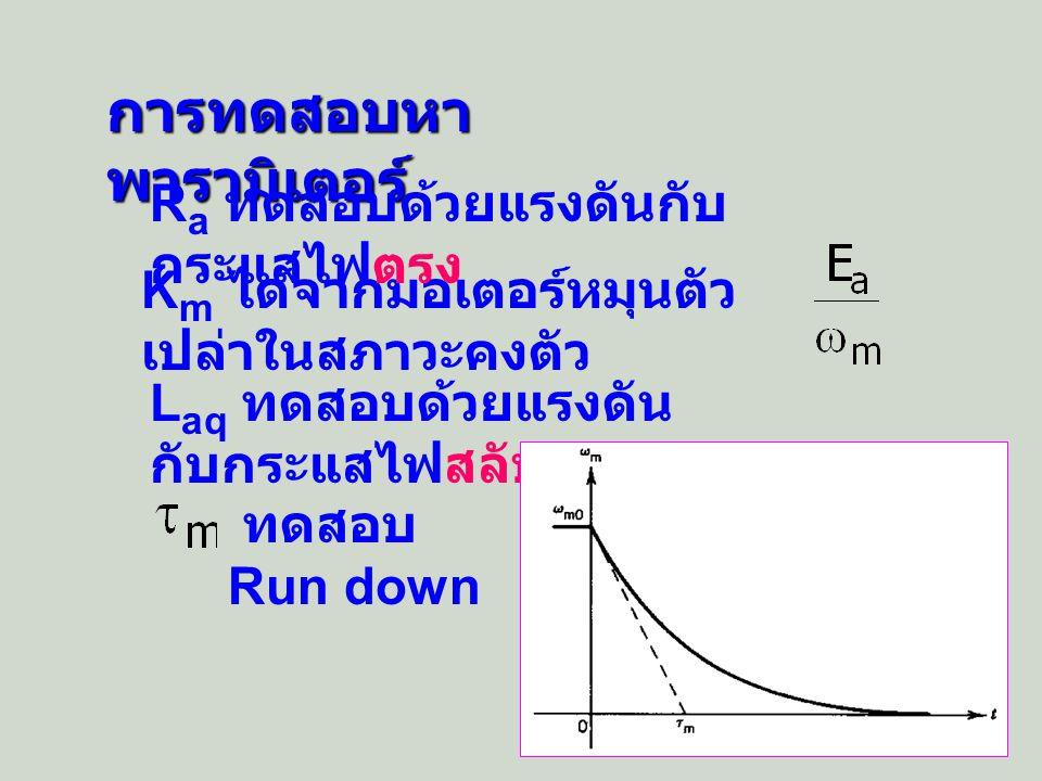 ตัวอย่าง 1 มอเตอร์แบบแยกกระตุ้นมี พารามิเตอร์เป็น R a = 0.5 L aq ~ 0 และ B ~ 0 แรงเคลื่อนเหนี่ยวนำอาร์เมเจอร์ของ มอเตอร์เป็น 220 V ที่ 2,000 rpm และ กระแส I f เป็น 1 A มอเตอร์ขับโหลดคงที่ T L = 25 N-m ค่า J ทั้งหมดเป็น 2.5 Kg-m 2 ที่ I f - 1 A และ V t = 220 Vdc (a) จงแสดงสมการความเร็ว ( ) พร้อมที่มา ในฟังก์ชันของเวลา (b) หาค่ากระแสและความเร็วรอบที่ สภาวะคงตัว =1.05 V/rad/sec = = = = = วิธี ทำ