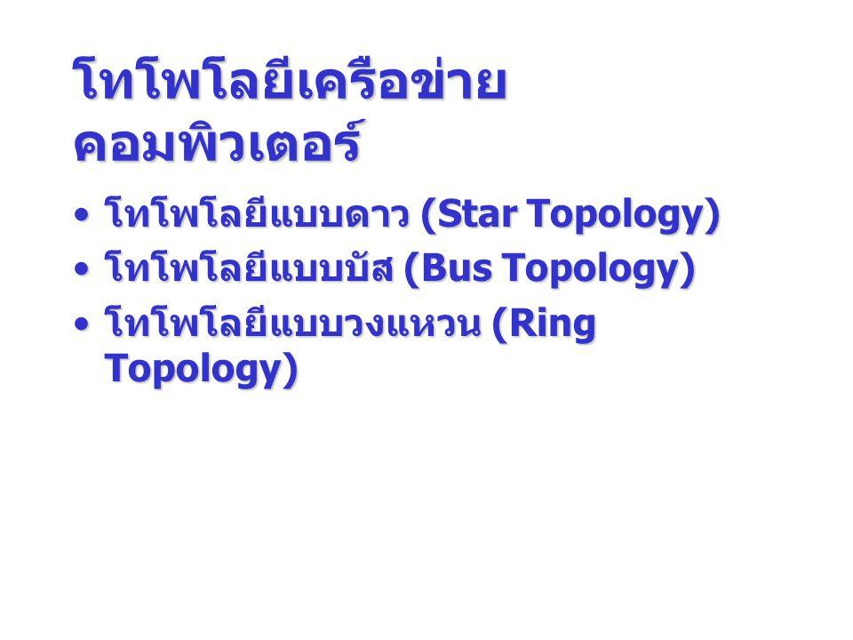 โทโพโลยีเครือข่าย คอมพิวเตอร์ โทโพโลยีแบบดาว (Star Topology) โทโพโลยีแบบดาว (Star Topology) โทโพโลยีแบบบัส (Bus Topology) โทโพโลยีแบบบัส (Bus Topology