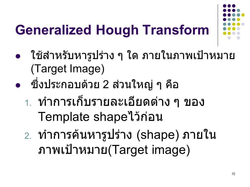 10 Generalized Hough Transform ใช้สำหรับหารูปร่าง ๆ ใด ภายในภาพเป้าหมาย (Target Image) ซึ่งประกอบด้วย 2 ส่วนใหญ่ ๆ คือ 1. ทำการเก็บรายละเอียดต่าง ๆ ขอ