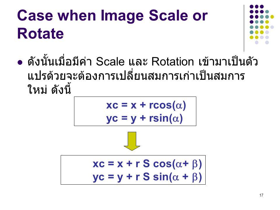 17 Case when Image Scale or Rotate ดังนั้นเมื่อมีค่า Scale และ Rotation เข้ามาเป็นตัว แปรด้วยจะต้องการเปลี่ยนสมการเก่าเป็นสมการ ใหม่ ดังนี้ xc = x + r