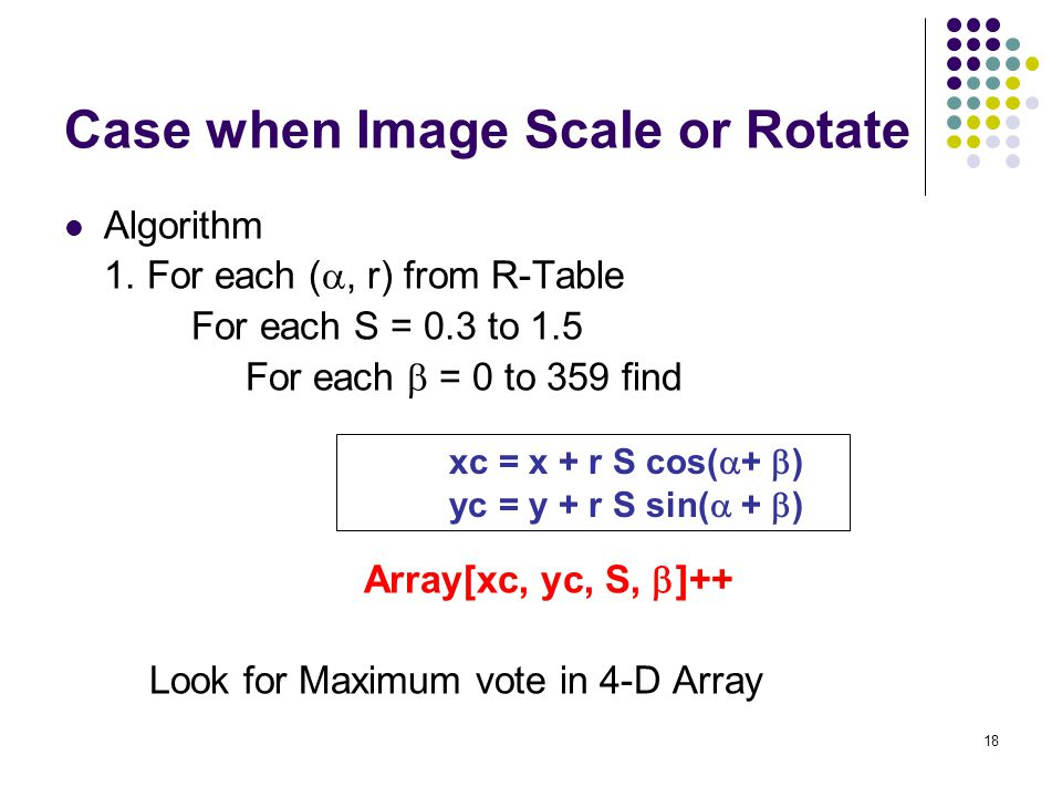 18 Case when Image Scale or Rotate Algorithm 1. For each ( , r) from R-Table For each S = 0.3 to 1.5 For each  = 0 to 359 find Array[xc, yc, S,  ]+