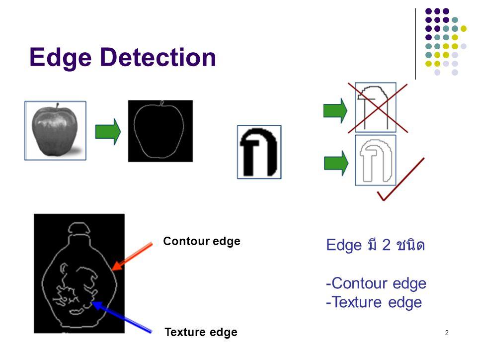 2 Edge Detection Contour edge Texture edge Edge มี 2 ชนิด -Contour edge -Texture edge