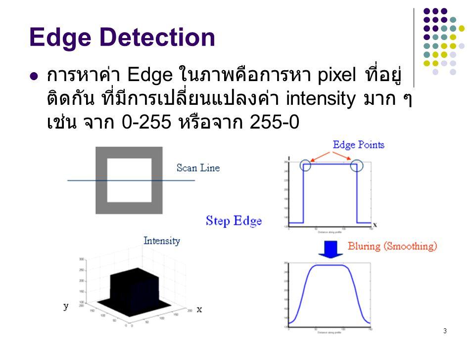 3 Edge Detection การหาค่า Edge ในภาพคือการหา pixel ที่อยู่ ติดกัน ที่มีการเปลี่ยนแปลงค่า intensity มาก ๆ เช่น จาก 0-255 หรือจาก 255-0