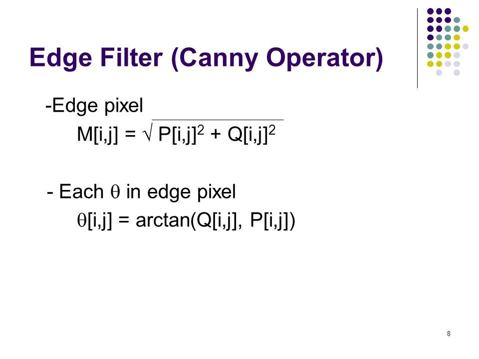8 Edge Filter (Canny Operator) -Edge pixel M[i,j] =  P[i,j] 2 + Q[i,j] 2 - Each  in edge pixel  [i,j] = arctan(Q[i,j], P[i,j])