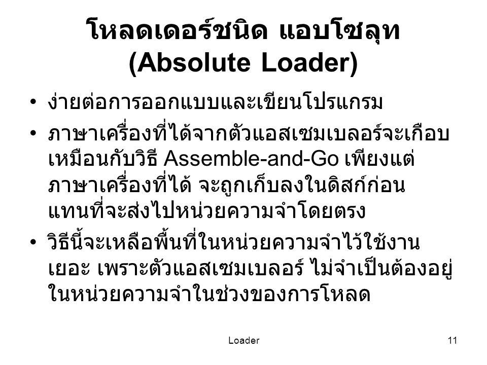 Loader11 โหลดเดอร์ชนิด แอบโซลุท (Absolute Loader) ง่ายต่อการออกแบบและเขียนโปรแกรม ภาษาเครื่องที่ได้จากตัวแอสเซมเบลอร์จะเกือบ เหมือนกับวิธี Assemble-an