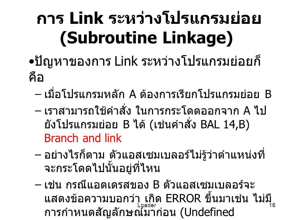 Loader16 การ Link ระหว่างโปรแกรมย่อย (Subroutine Linkage) ปัญหาของการ Link ระหว่างโปรแกรมย่อยก็ คือ – เมื่อโปรแกรมหลัก A ต้องการเรียกโปรแกรมย่อย B – เ