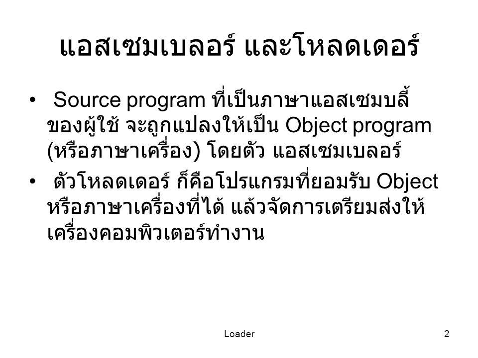 Loader2 แอสเซมเบลอร์ และโหลดเดอร์ Source program ที่เป็นภาษาแอสเซมบลี้ ของผู้ใช้ จะถูกแปลงให้เป็น Object program ( หรือภาษาเครื่อง ) โดยตัว แอสเซมเบลอ