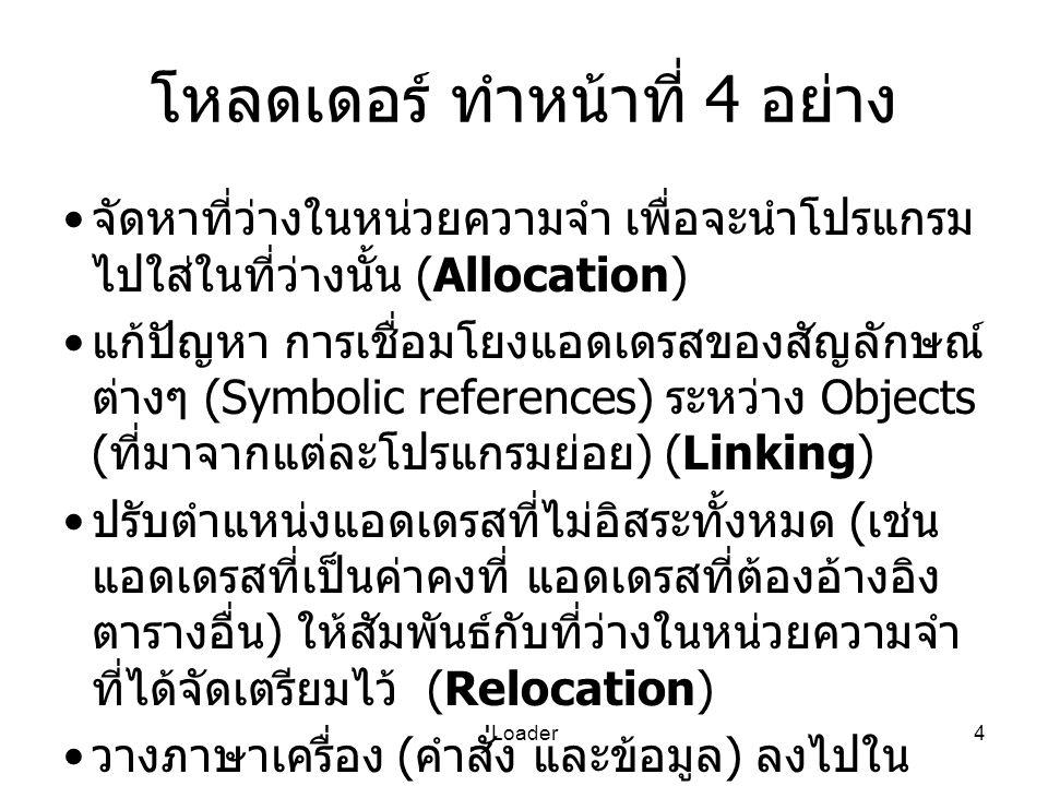 Loader4 โหลดเดอร์ ทำหน้าที่ 4 อย่าง จัดหาที่ว่างในหน่วยความจำ เพื่อจะนำโปรแกรม ไปใส่ในที่ว่างนั้น (Allocation) แก้ปัญหา การเชื่อมโยงแอดเดรสของสัญลักษณ