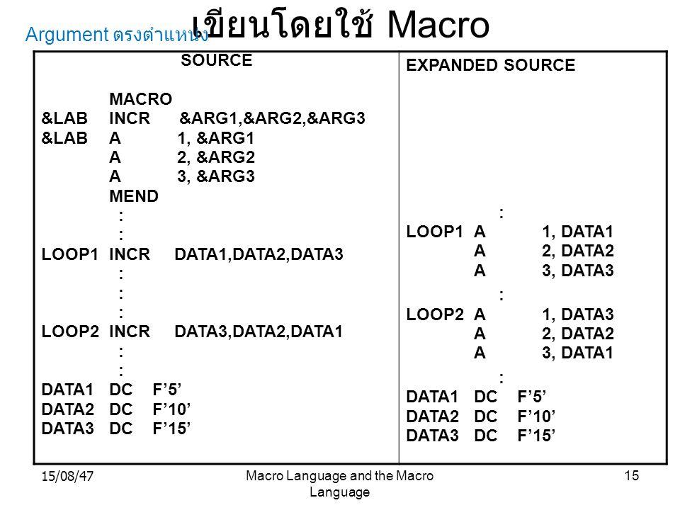 15/08/47Macro Language and the Macro Language 15 เขียนโดยใช้ Macro SOURCE MACRO &LABINCR &ARG1,&ARG2,&ARG3 &LABA1, &ARG1 A2, &ARG2 A3, &ARG3 MEND : LO