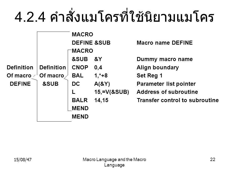 15/08/47Macro Language and the Macro Language 22 4.2.4 คำสั่งแมโครที่ใช้นิยามแมโคร Definition Of macro DEFINE Definition Of macro &SUB MACRO DEFINE &S