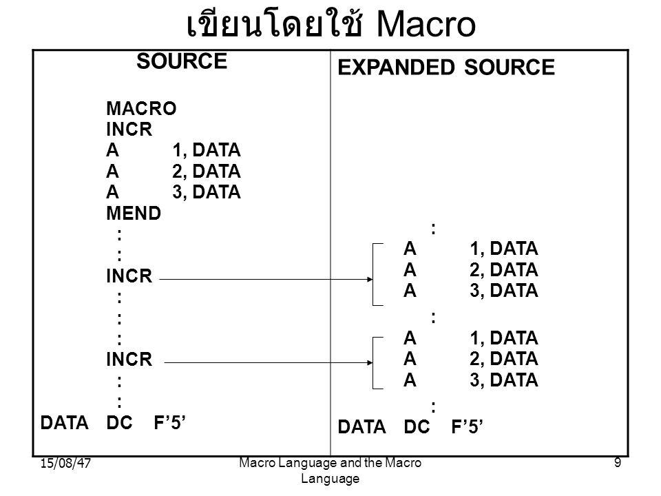 15/08/47Macro Language and the Macro Language 20 4.2.3 การใช้แมโครย่อย ในแมโคร หลัก เพราะว่าคำสั่งแมโคร คือคำสั่งเดียว ที่ใช้แทน กลุ่มคำสั่งหลายคำสั่ง ดังนั้นเราจึงสามารถใช้คำสั่งแมโคร ใน ตัวกำหนดแมโครได้ MACRO ADD1 &ARG L 1, &ARG A 1,=F'1' ST 1,&ARG MEND MACRO ADDS &ARG1,&ARG2,&ARG3 ADD1 &ARG1 ADD1 &ARG2 ADD1 &ARG3 MEND