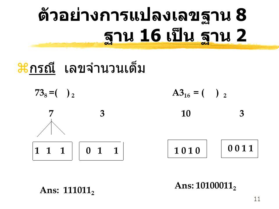 11 ตัวอย่างการแปลงเลขฐาน 8 ฐาน 16 เป็น ฐาน 2 z กรณี เลขจำนวนเต็ม 73 8 =( ) 2 7 3 1 1 1 0 1 1 A3 16 = ( ) 2 10 3 1 0 0 0 1 1 Ans: 111011 2 Ans: 1010001