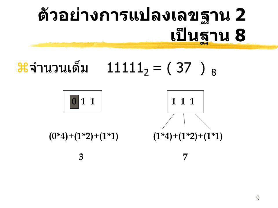 9 ตัวอย่างการแปลงเลขฐาน 2 เป็นฐาน 8 z จำนวนเต็ม 11111 2 = ( 37 ) 8 0 1 1 (0*4)+(1*2)+(1*1) 37 1 1 1 (1*4)+(1*2)+(1*1)