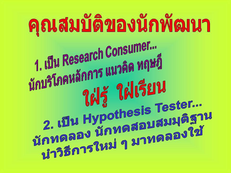 ประโยชน์ของ การวิจัย 1. ขยายองค์ความรู้ในศาสตร์ ต่าง ๆ 2. ได้ข้อมูลประกอบการ ตัดสินใจในการพัฒนางาน 3. แสดงศักยภาพของบุคคล เพื่อการเลื่อนระดับ ปรับ ตำแ