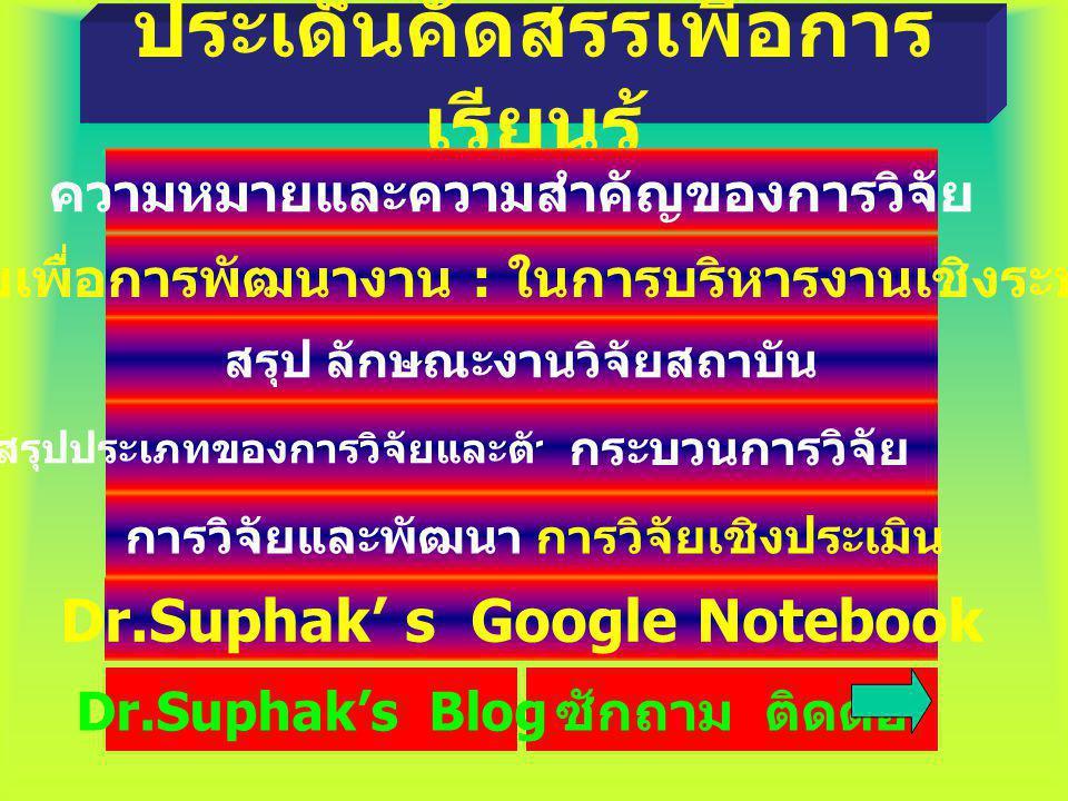 ประเด็นคัดสรรเพื่อการ เรียนรู้ ความหมายและความสำคัญของการวิจัย วิจัยเพื่อการพัฒนางาน : ในการบริหารงานเชิงระบบ สรุปประเภทของการวิจัยและตัวอย่าง กระบวนการวิจัย Dr.Suphak' s Google Notebook ซักถาม ติดต่อ การวิจัยและพัฒนา การวิจัยเชิงประเมิน สรุป ลักษณะงานวิจัยสถาบัน Dr.Suphak's Blog