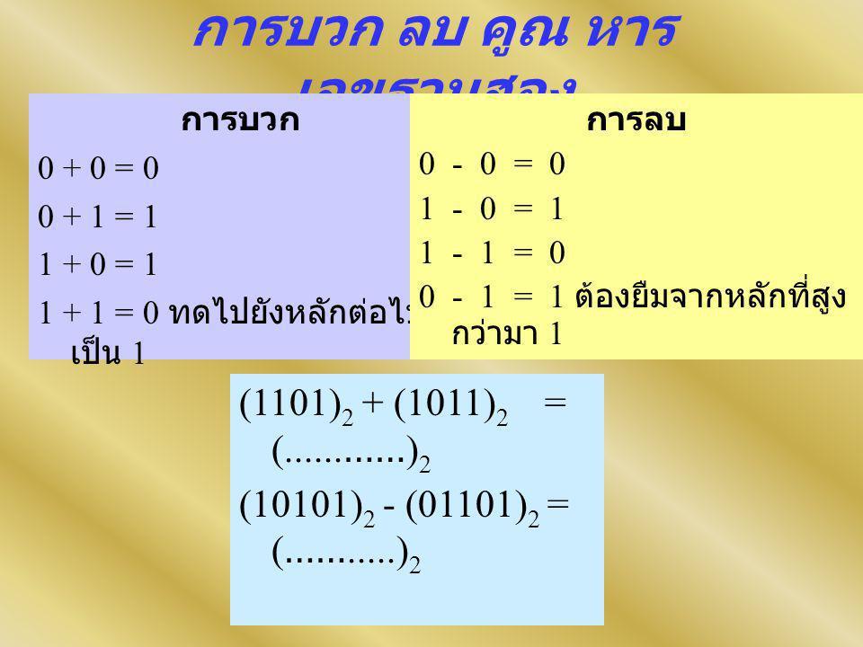 การบวก ลบ คูณ หาร เลขฐานสอง การบวก 0 + 0 = 0 0 + 1 = 1 1 + 0 = 1 1 + 1 = 0 ทดไปยังหลักต่อไป เป็น 1 (1101) 2 + (1011) 2 = (......