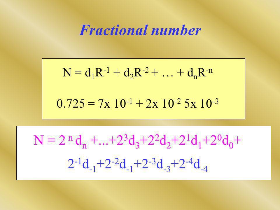 Fractional number N = d 1 R -1 + d 2 R -2 + … + d n R -n 0.725 = 7x 10 -1 + 2x 10 -2 5x 10 -3 N = 2 n d n +...+2 3 d 3 +2 2 d 2 +2 1 d 1 +2 0 d 0 + 2 -1 d -1 +2 -2 d -1 +2 -3 d -3 +2 -4 d -4