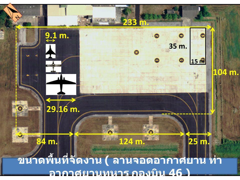 ขนาดพื้นที่จัดงาน ( ลานจอดอากาศยาน ท่า อากาศยานทหาร กองบิน 46 ) 104 m. 233 m. 84 m. 25 m.124 m. 29.16 m. 9.1 m. 15 m. 35 m.