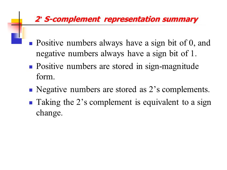 Positive and Negative Numbers -8 -7 -6 -5 -4 -3 -2 -1 0 +1 +2 +3 +4 +5 +6 +7 1000 1001 1010 1011 1100 1101 1110 1111 0000 0001 0010 0011 0100 0101 011