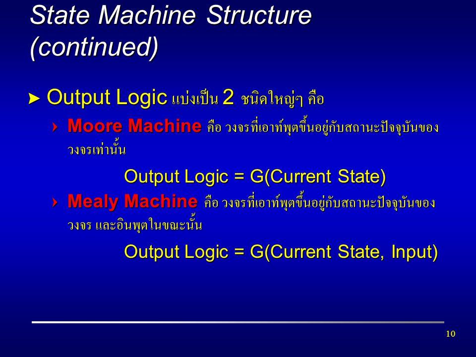 10 State Machine Structure (continued) > Output Logic แบ่งเป็น 2 ชนิดใหญ่ๆ คือ =Moore Machine คือ วงจรที่เอาท์พุตขึ้นอยู่กับสถานะปัจจุบันของ วงจรเท่าน