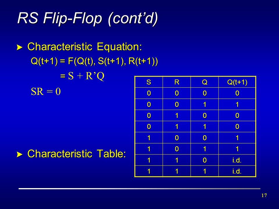 17 RS Flip-Flop (cont'd) > Characteristic Equation: Q(t+1) = F(Q(t), S(t+1), R(t+1)) = = S + R'Q SR = 0 > Characteristic Table: SRQQ(t+1) 0000 0011 01