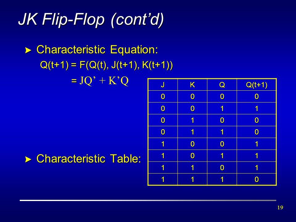 19 JK Flip-Flop (cont'd) > Characteristic Equation: Q(t+1) = F(Q(t), J(t+1), K(t+1)) = = JQ' + K'Q > Characteristic Table: JKQQ(t+1) 0000 0011 0100 01