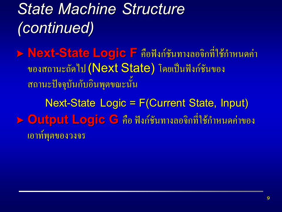 10 State Machine Structure (continued) > Output Logic แบ่งเป็น 2 ชนิดใหญ่ๆ คือ =Moore Machine คือ วงจรที่เอาท์พุตขึ้นอยู่กับสถานะปัจจุบันของ วงจรเท่านั้น Output Logic = G(Current State) =Mealy Machine คือ วงจรที่เอาท์พุตขึ้นอยู่กับสถานะปัจจุบันของ วงจร และอินพุตในขณะนั้น Output Logic = G(Current State, Input)