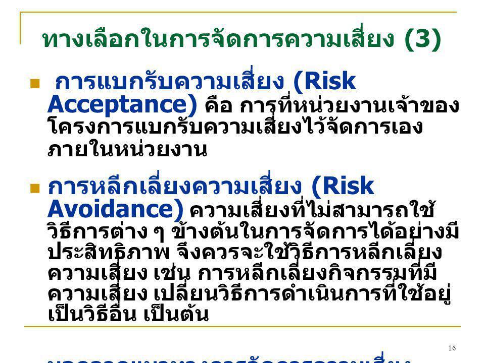 16 ทางเลือกในการจัดการความเสี่ยง (3) การแบกรับความเสี่ยง (Risk Acceptance) คือ การที่หน่วยงานเจ้าของ โครงการแบกรับความเสี่ยงไว้จัดการเอง ภายในหน่วยงาน การหลีกเลี่ยงความเสี่ยง (Risk Avoidance) ความเสี่ยงที่ไม่สามารถใช้ วิธีการต่าง ๆ ข้างต้นในการจัดการได้อย่างมี ประสิทธิภาพ จึงควรจะใช้วิธีการหลีกเลี่ยง ความเสี่ยง เช่น การหลีกเลี่ยงกิจกรรมที่มี ความเสี่ยง เปลี่ยนวิธีการดำเนินการที่ใช้อยู่ เป็นวิธีอื่น เป็นต้น นอกจากแนวทางการจัดการความเสี่ยง ดังกล่าวข้างต้น การจัดการความเสี่ยงยัง รวมถึงการสร้างระบบเฝ้าระวัง มีสัญญาณ เตือนภัย รวมถึงการมีแผนฉุกเฉิน ( เช่น แผน อพยพ เป็นต้น ) รองรับการดำเนินการด้วย