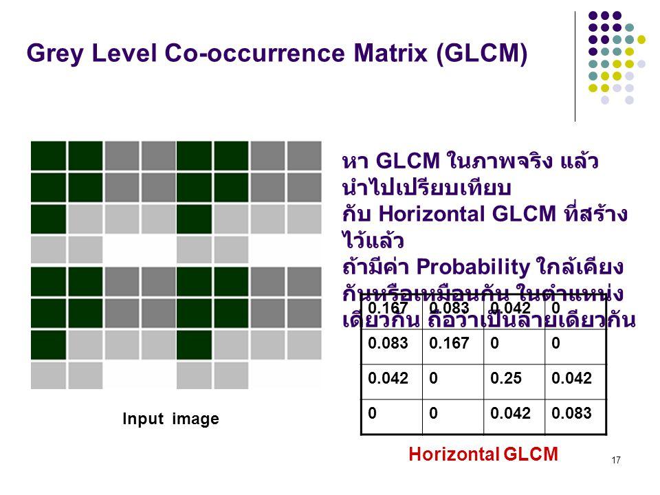 17 Grey Level Co-occurrence Matrix (GLCM) หา GLCM ในภาพจริง แล้ว นำไปเปรียบเทียบ กับ Horizontal GLCM ที่สร้าง ไว้แล้ว ถ้ามีค่า Probability ใกล้เคียง กันหรือเหมือนกัน ในตำแหน่ง เดียวกัน ถือว่าเป็นลายเดียวกัน 0.1670.0830.0420 0.0830.16700 0.04200.250.042 00 0.083 Horizontal GLCM Input image