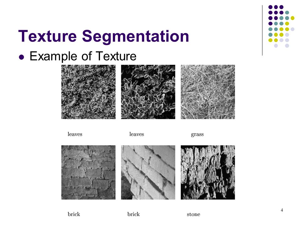 4 Texture Segmentation Example of Texture