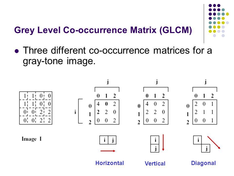 16 Grey Level Co-occurrence Matrix (GLCM) สร้าง Count Matrix ดู relation ใน ส่วนของภาพที่ตัดมา ระหว่างจุดอ้างอิงและจุด พิกเซลเพื่อนบ้านตามทิศทางที่กำหนด (Neighbour pixel) นับจำนวนความสัมพันธ์ที่เกิดขึ้น (occurrence) และเติมลงใน Count Matrix จะเกิด Count Matrix ของจำนวนความสัมพันธ์ขึ้น Transpose Matrix เพื่อทำให้เป็นสมมาตร (Symmetrical matrix) ทำการบวก Count Matrix และ Transpose Matrix แปลง Matrix ที่รวมกันแล้วให้เป็น Probability โดยนำเอาค่าของ Matrix แต่ละช่อง หารด้วยผลรวมทั้งหมด เมื่อหา Probability Matrix ได้แล้ว ก็สามารถนำเอา Matrix นี้ไป หา Texture ในภาพจริงได้ โดยต้องทำภาพจริงที่จะหา Texture ให้เป็น gray level ระดับเดียวกันกับ Matrix ที่สร้างขึ้นไว้ก่อน จากนั้นก็ทำการหา GLCM ของภาพจริง และนำมาเปรียบเทียบ กับ GLCM ที่เราสร้างไว้เป็นต้นแบบ