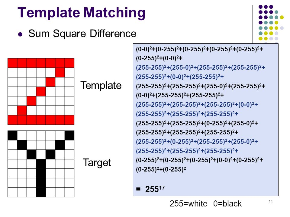 11 Template Matching Sum Square Difference Template Target (0-0) 2 +(0-255) 2 +(0-255) 2 +(0-255) 2 +(0-255) 2 + (0-255) 2 +(0-0) 2 + (255-255) 2 +(255-0) 2 +(255-255) 2 +(255-255) 2 + (255-255) 2 +(0-0) 2 +(255-255) 2 + (255-255) 2 +(255-255) 2 +(255-0) 2 +(255-255) 2 + (0-0) 2 +(255-255) 2 +(255-255) 2 + (255-255) 2 +(255-255) 2 +(255-255) 2 +(0-0) 2 + (255-255) 2 +(255-255) 2 +(255-255) 2 + (255-255) 2 +(255-255) 2 +(0-255) 2 +(255-0) 2 + (255-255) 2 +(255-255) 2 +(255-255) 2 + (255-255) 2 +(0-255) 2 +(255-255) 2 +(255-0) 2 + (255-255) 2 +(255-255) 2 +(255-255) 2 + (0-255) 2 +(0-255) 2 +(0-255) 2 +(0-0) 2 +(0-255) 2 + (0-255) 2 +(0-255) 2 = 255 17 255=white 0=black
