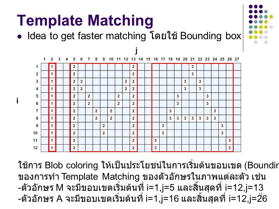 13 Template Matching Idea to get faster matching โดยใช้ Bounding box ใช้การ Blob coloring ให้เป็นประโยชน์ในการเริ่มต้นขอบเขต (Bounding box) ของการทำ T