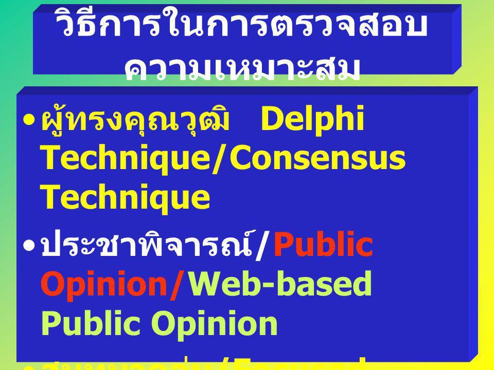วิธีการในการตรวจสอบ ความเหมาะสม ผู้ทรงคุณวุฒิ Delphi Technique/Consensus Technique ประชาพิจารณ์ /Public Opinion/Web-based Public Opinion สนทนากลุ่ม /F