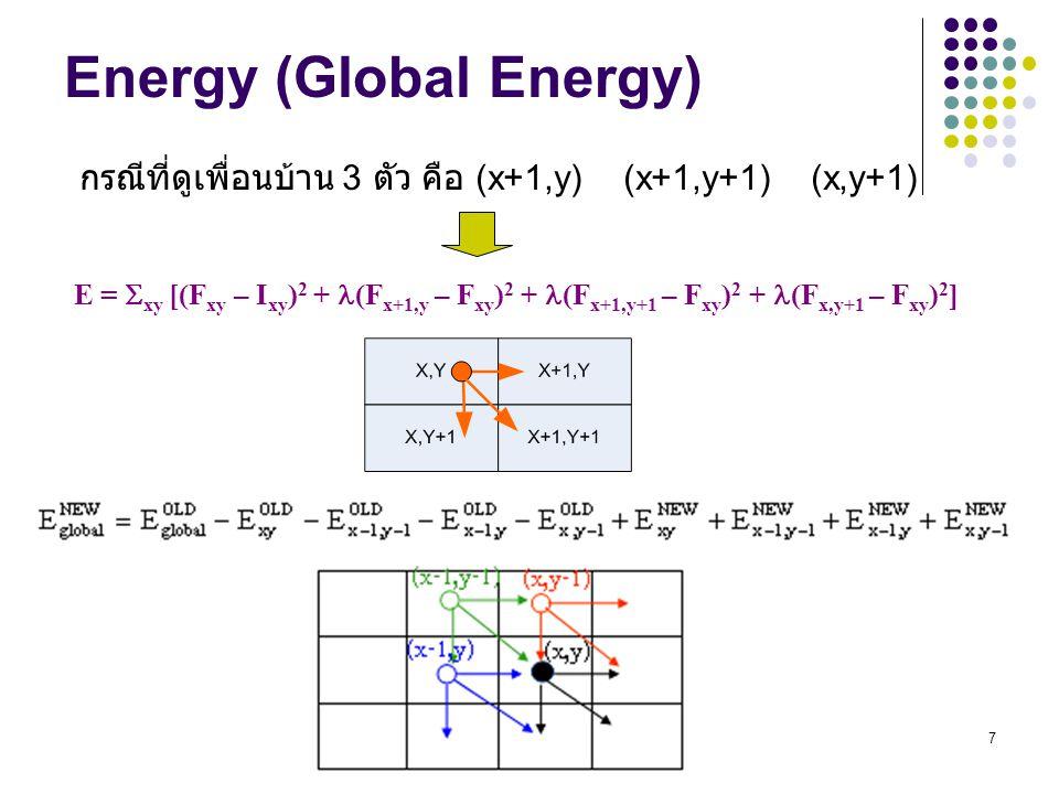 7 Energy (Global Energy) E =  xy [(F xy – I xy ) 2 + (F x+1,y – F xy ) 2 + (F x+1,y+1 – F xy ) 2 + (F x,y+1 – F xy ) 2 ] กรณีที่ดูเพื่อนบ้าน 3 ตัว คื