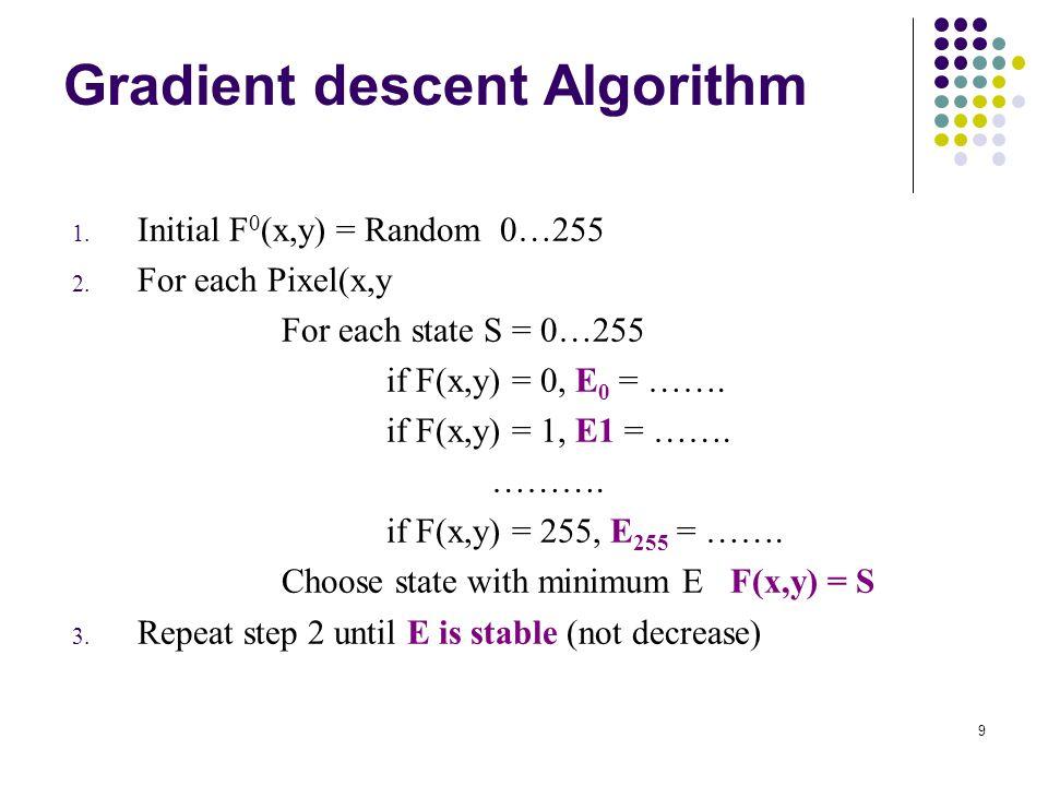 9 Gradient descent Algorithm 1. Initial F 0 (x,y) = Random 0…255 2. For each Pixel(x,y For each state S = 0…255 if F(x,y) = 0, E 0 = ……. if F(x,y) = 1