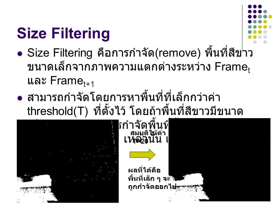 15 Size Filtering Size Filtering คือการกำจัด (remove) พื้นที่สีขาว ขนาดเล็กจากภาพความแตกต่างระหว่าง Frame t และ Frame t+1 สามารถกำจัดโดยการหาพื้นที่ที่เล็กกว่าค่า threshold(T) ที่ตั้งไว้ โดยถ้าพื้นที่สีขาวมีขนาด เล็กกว่า T ให้ทำการกำจัดพื้นที่นั้นออก โดย set ให้ พื้นที่สีขาวเล็ก ๆ เหล่านั้น เป็นสีดำ สมมุติให้ค่า T=20 ผลที่ได้คือ พื้นที่เล็ก ๆ จะ ถูกกำจัดออกไป