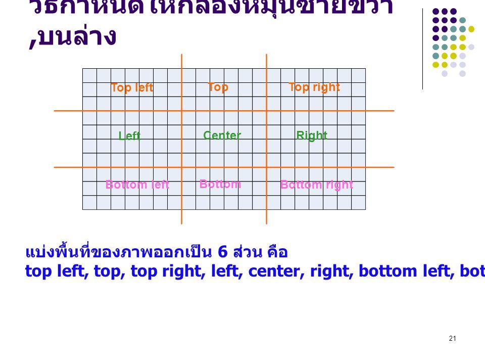 21 วิธีกำหนดให้กล้องหมุนซ้ายขวา, บนล่าง แบ่งพื้นที่ของภาพออกเป็น 6 ส่วน คือ top left, top, top right, left, center, right, bottom left, bottom, bottom right Top left TopTop right Left CenterRight Bottom left Bottom Bottom right