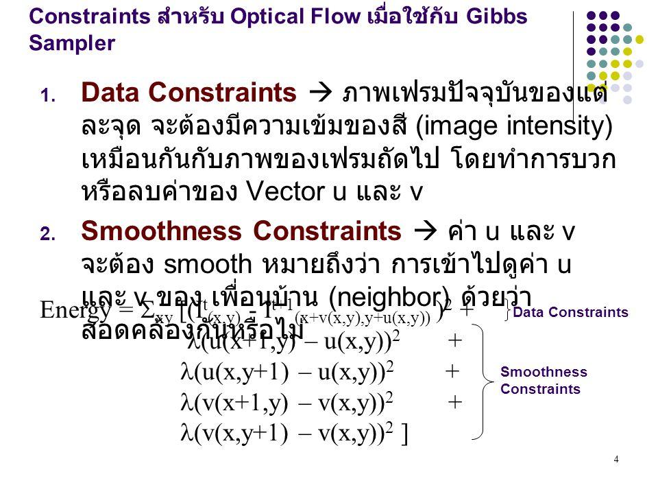 4 Constraints สำหรับ Optical Flow เมื่อใช้กับ Gibbs Sampler 1.
