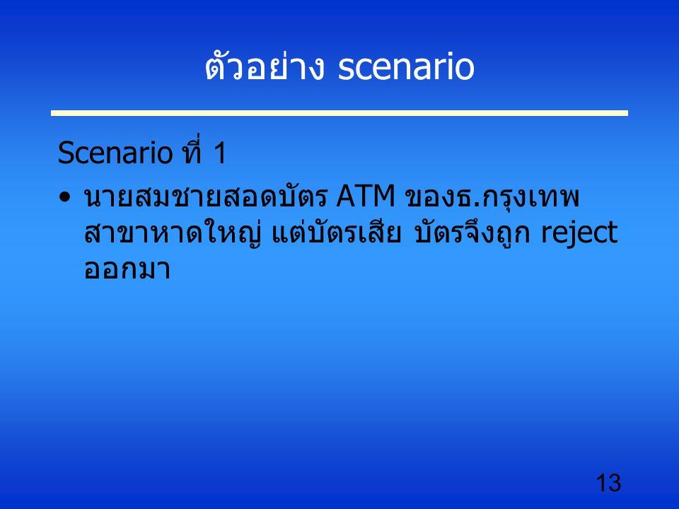 13 ตัวอย่าง scenario Scenario ที่ 1 นายสมชายสอดบัตร ATM ของธ.กรุงเทพ สาขาหาดใหญ่ แต่บัตรเสีย บัตรจึงถูก reject ออกมา
