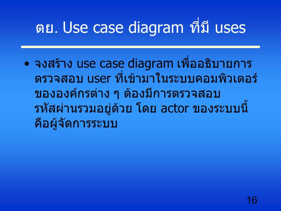 16 ตย. Use case diagram ที่มี uses จงสร้าง use case diagram เพื่ออธิบายการ ตรวจสอบ user ที่เข้ามาในระบบคอมพิวเตอร์ ขององค์กรต่าง ๆ ต้องมีการตรวจสอบ รห