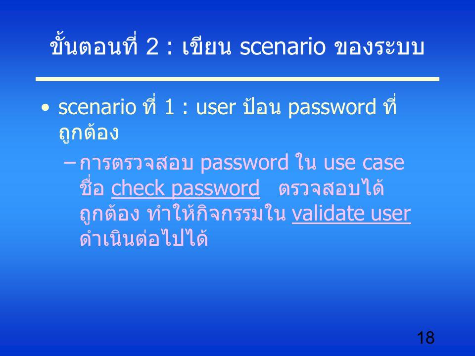 18 ขั้นตอนที่ 2 : เขียน scenario ของระบบ scenario ที่ 1 : user ป้อน password ที่ ถูกต้อง –การตรวจสอบ password ใน use case ชื่อ check password ตรวจสอบไ