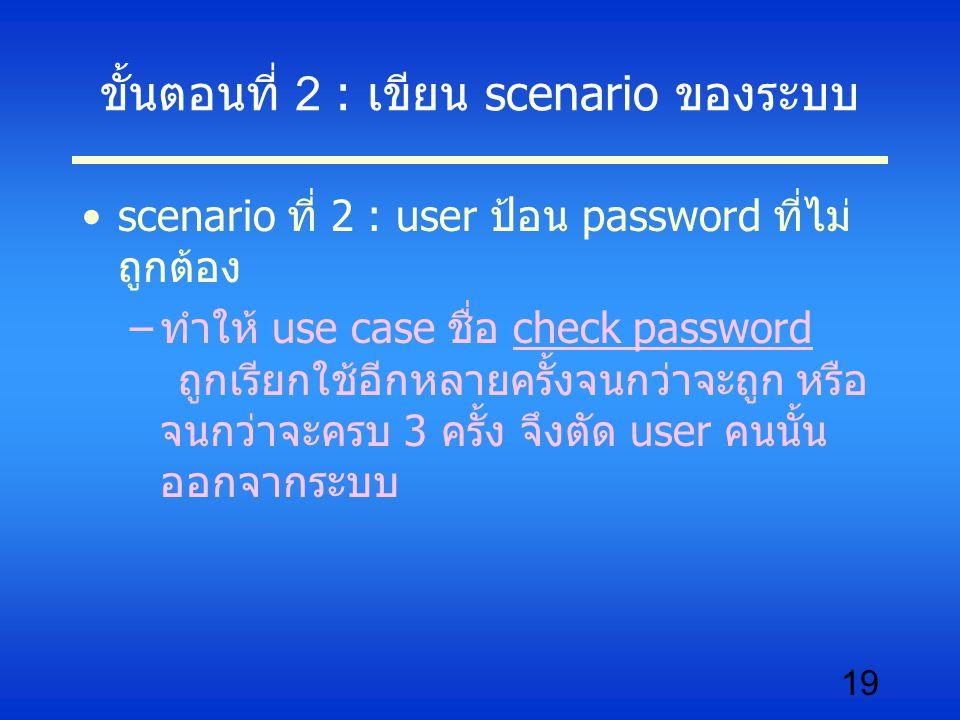 19 ขั้นตอนที่ 2 : เขียน scenario ของระบบ scenario ที่ 2 : user ป้อน password ที่ไม่ ถูกต้อง –ทำให้ use case ชื่อ check password ถูกเรียกใช้อีกหลายครั้งจนกว่าจะถูก หรือ จนกว่าจะครบ 3 ครั้ง จึงตัด user คนนั้น ออกจากระบบ