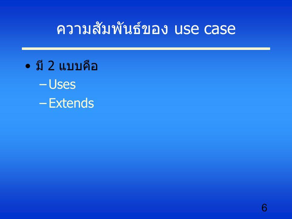 7 ความหมายของ uses Uses หมายถึง การที่ use case หนึ่งเรียกใช้ งาน use case อีกอันหนึ่ง คล้ายกับการเรียกใช้งานโปรแกรมย่อยโดย โปรแกรมหลัก uses ของ uses case เหมือนกับ generalization เปรียบได้กับ specialize class