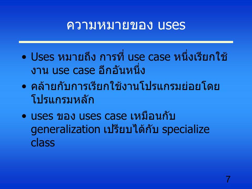 7 ความหมายของ uses Uses หมายถึง การที่ use case หนึ่งเรียกใช้ งาน use case อีกอันหนึ่ง คล้ายกับการเรียกใช้งานโปรแกรมย่อยโดย โปรแกรมหลัก uses ของ uses