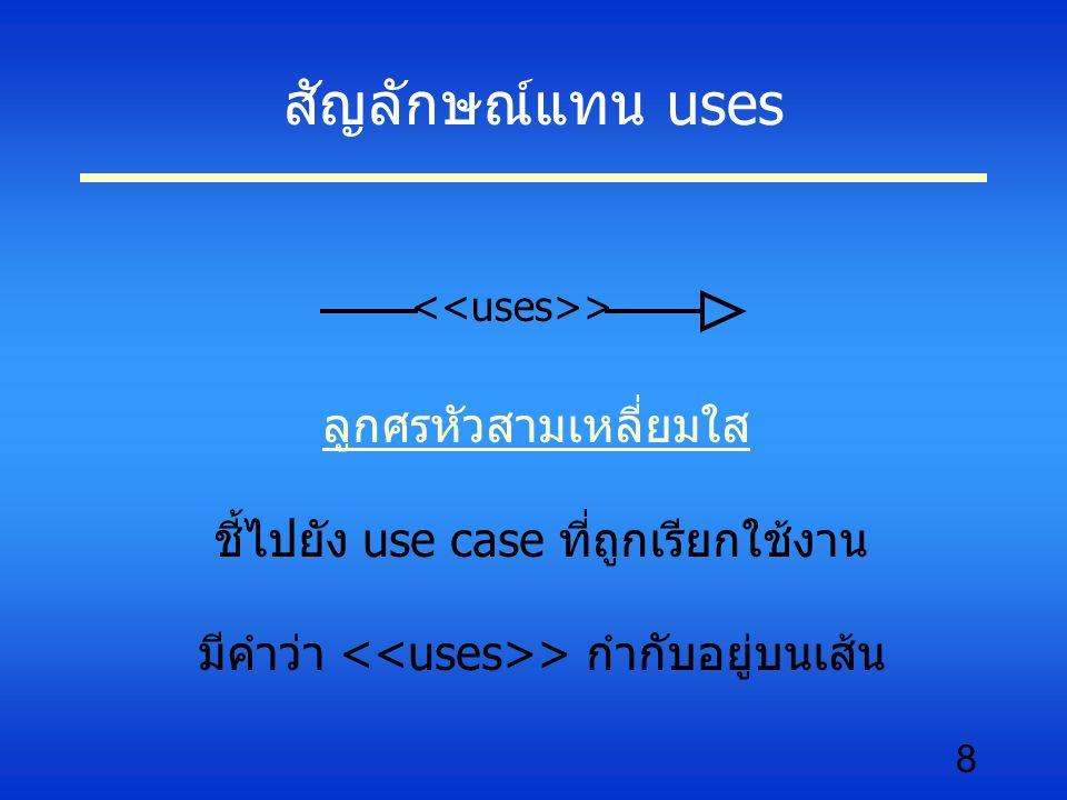 8 สัญลักษณ์แทน uses ลูกศรหัวสามเหลี่ยมใส ชี้ไปยัง use case ที่ถูกเรียกใช้งาน มีคำว่า > กำกับอยู่บนเส้น >