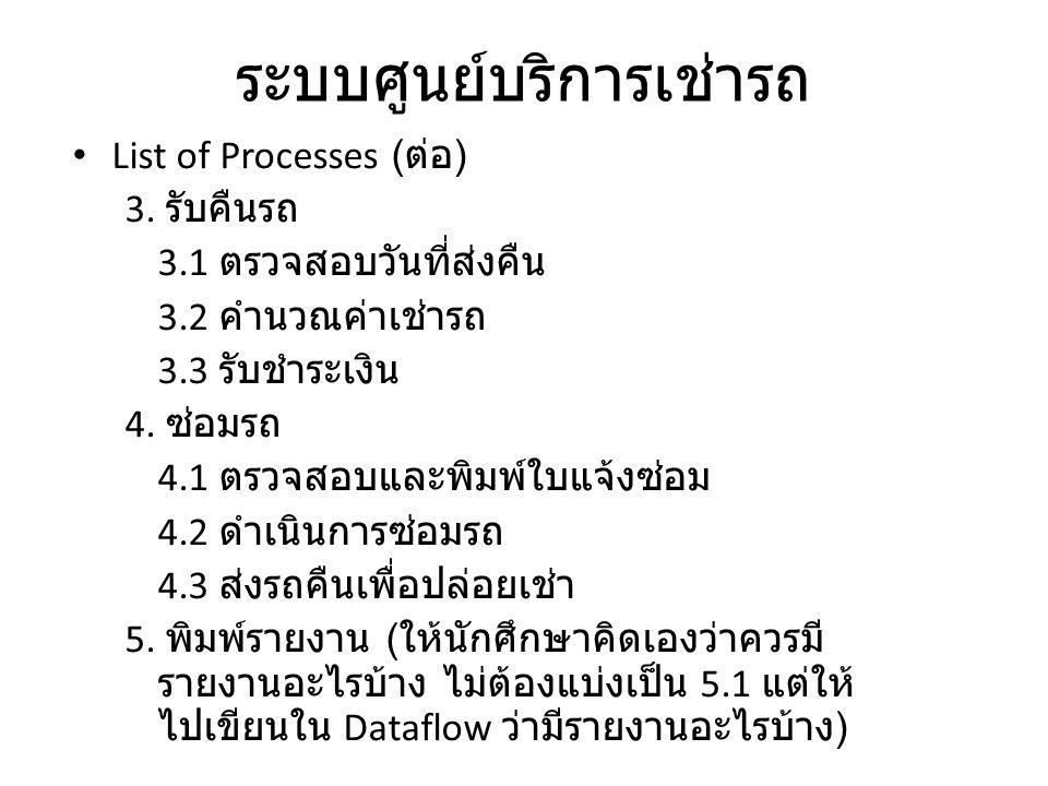 ระบบศูนย์บริการเช่ารถ List of Processes ( ต่อ ) 3. รับคืนรถ 3.1 ตรวจสอบวันที่ส่งคืน 3.2 คำนวณค่าเช่ารถ 3.3 รับชำระเงิน 4. ซ่อมรถ 4.1 ตรวจสอบและพิมพ์ใบ
