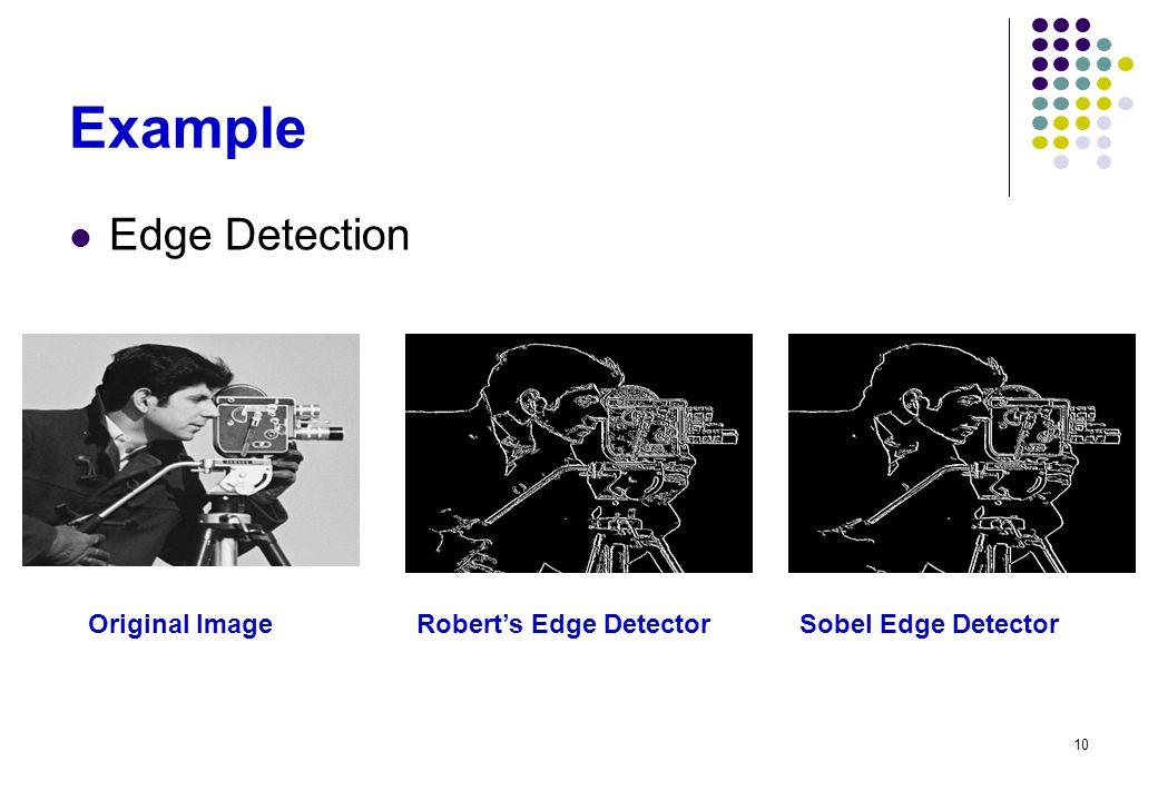 10 Example Edge Detection Original ImageRobert's Edge DetectorSobel Edge Detector